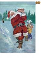 Snow Golfing Santa House Flag