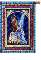 Stained Glass Nativity House Flag