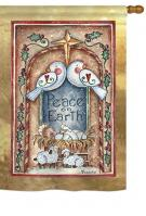 Peace on Earth Doves & Nativity House Flag