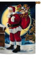 Moonlit Santa Garden Flag