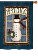 Happy Holidays Snowman House Flag