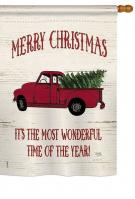 Merry Christmas Vintage Truck House Flag