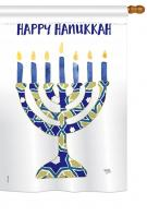 Hanukkah Menorah House Flag