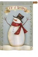 Let It Snow Happy Snowman House Flag