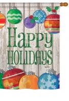 Colorful Ornament Holidays House Flag