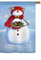 Warm Wish Snowman House Flag