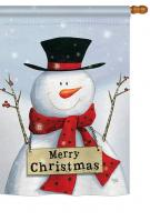 Joyful Snowman Christmas House Flag