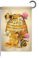 Bee Happy Beehive Garden Flag