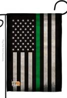 USA Thin Green Line Decorative Garden Flag