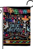 Colorful Dia de Muertos Garden Flag