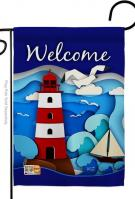 Welcome Red Lighthouse Garden Flag