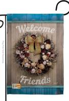 Welcome Breeze Wreath Garden Flag