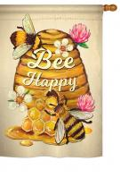 Bee Happy Beehive House Flag
