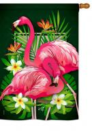 Tropical Flamingo House Flag