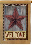 Welcome Country Barn Star House Flag