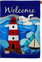 Welcome Red Lighthouse House Flag