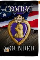 Purple Heart Combat Wounded House Flag
