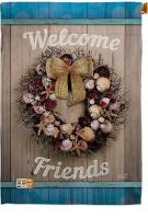 Welcome Breeze Wreath House Flag