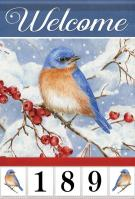 Bluebird & Berries Garden Address Flag