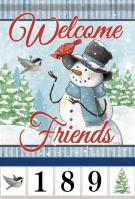 Snowman & Friends Garden Address Flag