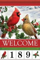 Cardinals & Holly Garden Address Flag