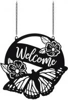 Butterfly Welcome Metal Garden Flag