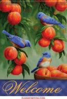 Bluebirds & Peaches Garden Flag