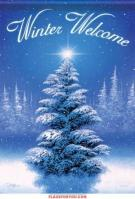Winter Welcome Tree Garden Flag