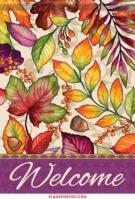 Plum & Orange Leaves House Flag