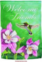 Hummingbird Welcome Glitter Garden Flag
