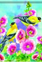 Goldfinches / Hollyhocks Garden Flag