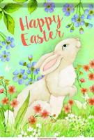 Easter Bunny & Flowers House Flag