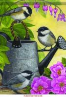 Garden Chickadees House Flag