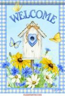 Birdhouse & Wildflowers Garden Flag