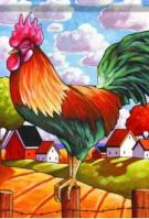 Country Rooster Garden Flag