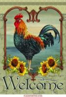 Rustic Rooster House Flag