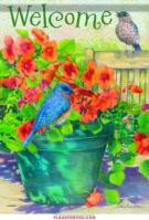 Bluebirds & Flower Pot House Flag
