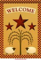 Sheep & Barn Stars Garden Flag