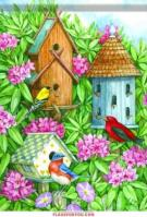 Birdhouse Gathering Garden Flag