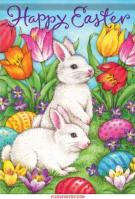 White Bunnies Dura Soft House Flag