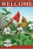 Cardinals On Dogwood Dura Soft Garden Flag
