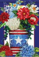 Patriotic Flowers Dura Soft House Flag