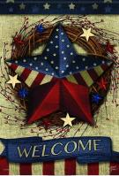 Welcome Patriotic Barnstar Garden Flag