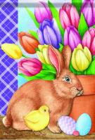 Bunny And Tulips Garden Flag