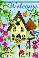 Birdhouse Splendor Garden Flag