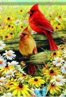 Springtime Cardinals Garden Flag