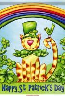 Catty For St. Patty House Flag
