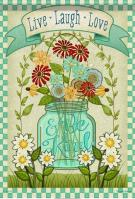 Mason Jar Floral House Flag