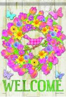 Welcome Floral Wreath House Flag