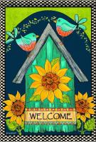 Blue Birds Welcome Birdhouse House Flag
